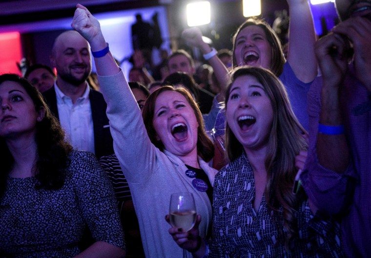 People cheer while watching live results at a midterm election night party hosted by the Democratic Congressional Campaign Committee in Washington on Nov. 6, 2018.