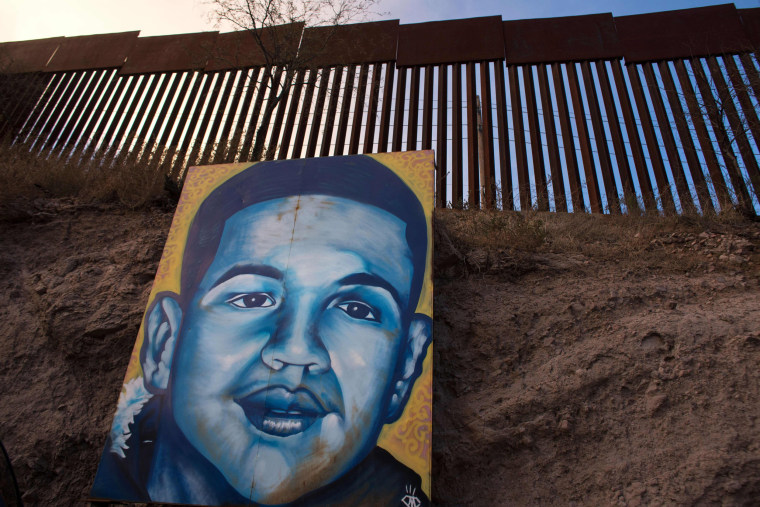 A portrait of Jose Antonio Elena Rodriguez on the border fence in Nogales, Mexico, on Feb. 16, 2017.