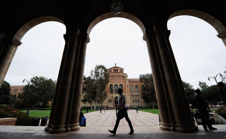 A student walks on the UCLA campus in Los Angeles in 2012.