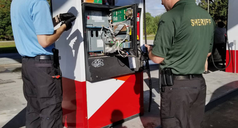 Hernando County Sheriff's Office Detectives along with the members of the Department of Agriculture performed a full sweep of Hernando County's gas station fuel pumps for credit card skimmers, collecting a total of two skimmers located during the sweep which are being processed as part of the investigation.