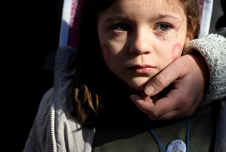 Image: A girl cries during a rally against gender-based and sexual violence against women in Gijon