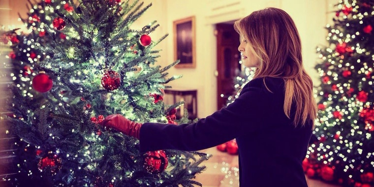 First lady Melania Trump unveiled the 2018 White House Christmas decorations .