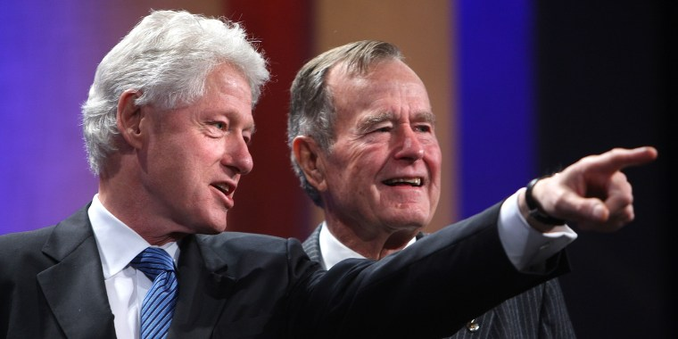 Former Presidents Bill Clinton and George H.W. Bush