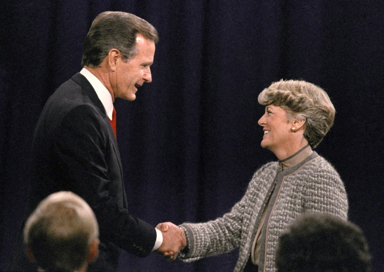 "In 1984, Reagan and Bush were reelected for a second term, beating Walter Mondale and Geraldine Ferraro. Here, Bush greets Ferraro, the first woman vice-presidential candidate, before the beginning of their October 1984 debate. The event was to prove contentious, with Ferraro accusing Bush of having a ""patronizing attitude"" and fiercely defending her pro-choice view on abortion."