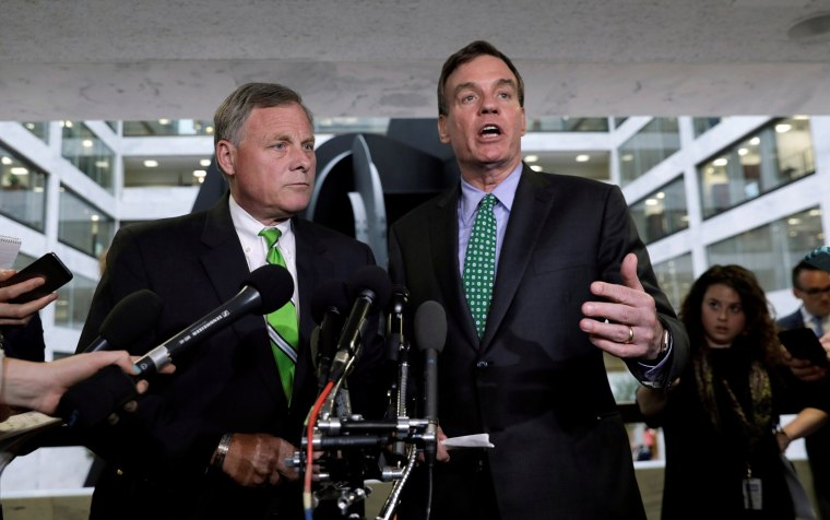 Image: Richard Burr and Mark Warner speak about Michael Flynn on Capitol Hill