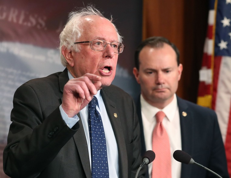 Image: Senator Sanders, Lee, And Murphy Hold News Conference On Removing U.S. Armed Forces From Conflict With Saudi Arabia And Houthis In Yemen