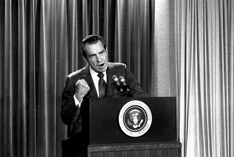 President Richard Nixon announces that he will not allow his legal counsel, John Dean, to testify on Capitol Hill on the Watergate investigation in 1973.