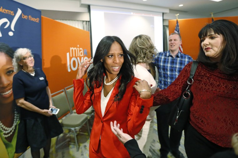 Rep. Mia Love greets supporters during an election night party in Lehi, Utah, on Nov. 6, 2018.