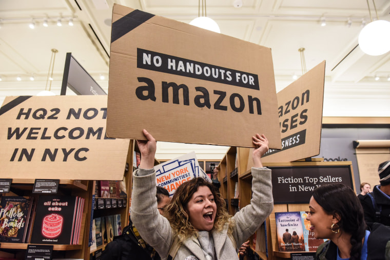 "Image: Protestors In New York City Hold ""Day Of Action"" Against Amazon HQ2"