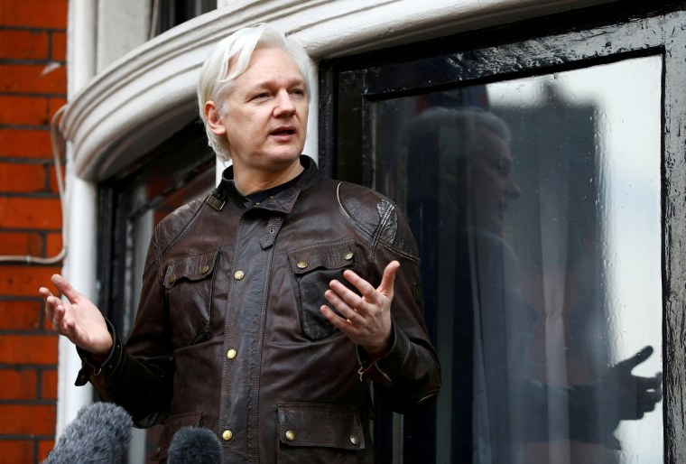 WikiLeaks founder Julian Assange on the balcony of the Ecuadorian Embassy in London on May 19, 2017.