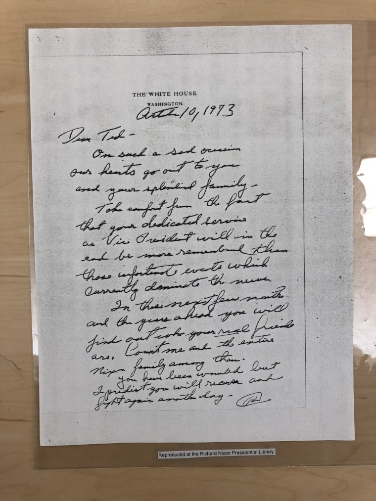 "Nixon's Goodbye Letter To ""Ted"""