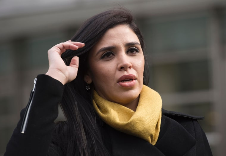 "Emma Coronel Aispuro, the wife of Joaquin ""El Chapo"" Guzman, exits the US Federal Courthouse in Brooklyn on February 3, 2017."