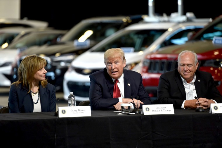 President Donald Trump delivers remarks at American Center for Mobility in Ypsilanti, Michigan