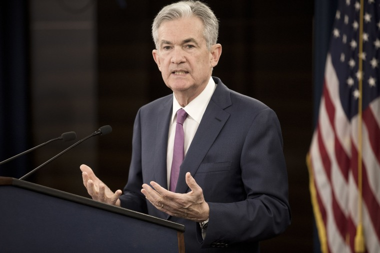 Image: Federal Reserve Board Chairman Jerome Powell holds a news conference after a Federal Open Market Committee meeting