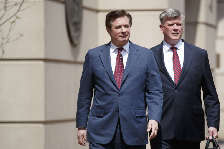 Paul Manafort and his lawyer, Kevin Downing, after a motion hearing at the US District Court in Alexandria, Virginia on May 4, 2018.