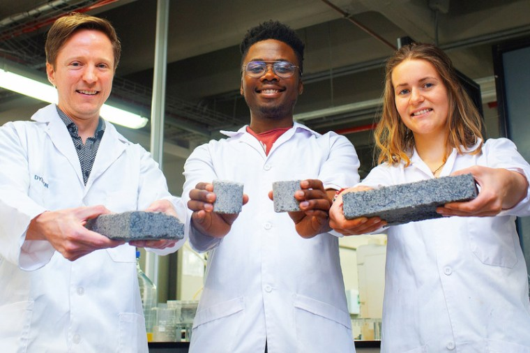 "Researchers at the University of Cape Town in South Africa have developed ""bio-bricks"" made of human urine."