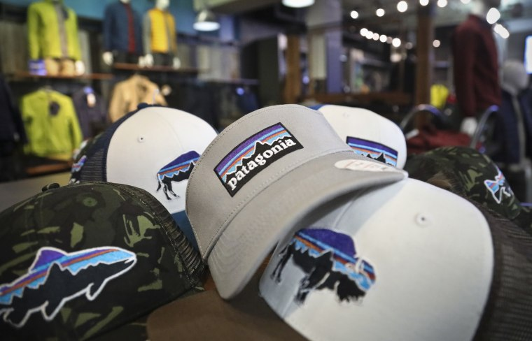 Image: The Patagonia logo on items in the brand section of a retail department store