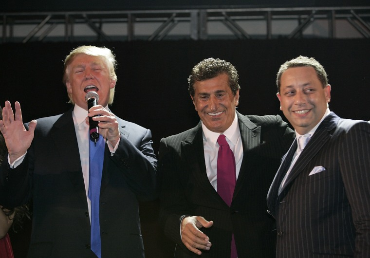 Donald Trump, Tevfik Arif and Felix Sater attend the Trump Soho Launch Party in New York on September 19, 2007.