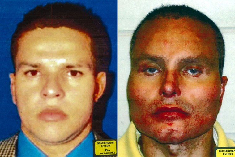 "Colombian drug lord Juan Carlos ""Chupeta"" Ramirez Abadia had plastic surgery to alter his appearance as seen in this before, left, and after, right, photo combination released by the Department of Justice on Nov. 29, 2018."