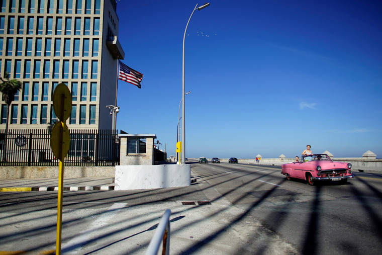 Tourists drive by the United States Embassy in Havana on Nov. 1, 2018.