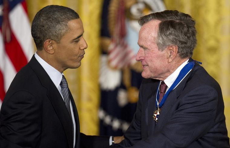 Image: President Barack Obama, George H.W. Bush