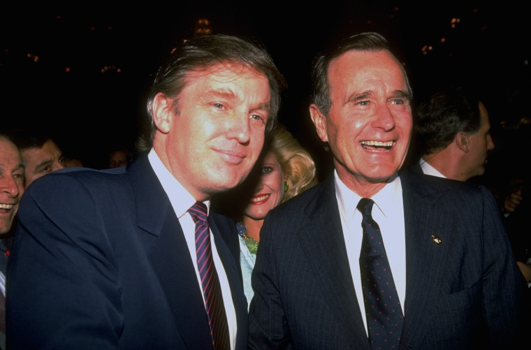 Image: George H. W. Bush And Donald J. Trump