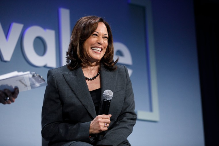 Sen. Kamala Harris of California speaks at the Know Your Value conference in San Francisco on Saturday.