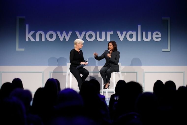 Sen. Kamala Harris of California talks to Know Your Value founder Mika Brzezinski in San Francisco on Saturday.