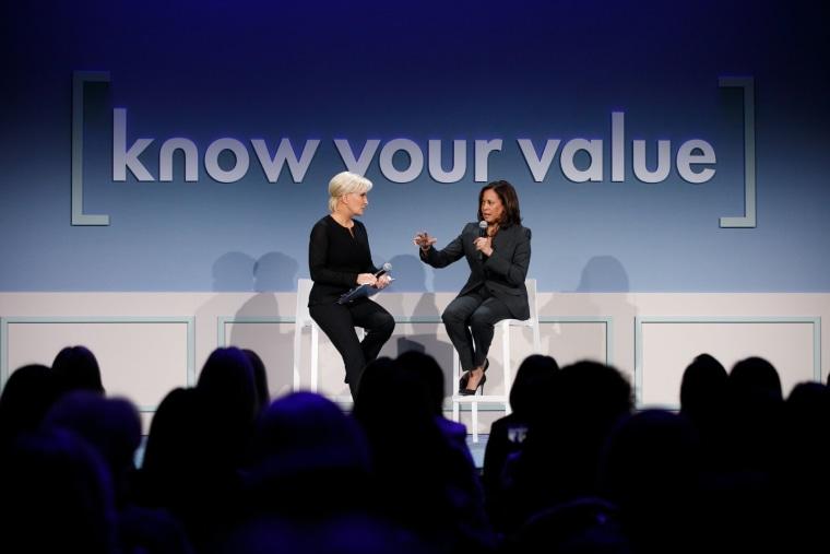 Sen. Kamala Harris of California talks to Know Your Value founder Mika Brzezinski in San Francisco on Saturday.