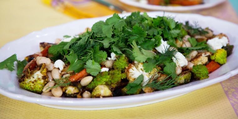 Samin Nosrat's Pesto Pasta + Roasted Vegetable and White Bean Salad