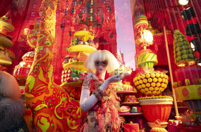 A holiday window is displayed at Bergdorf Goodman, on Dec. 5, 2018, in New York.