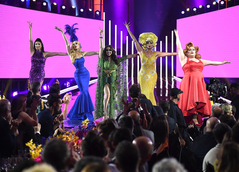 """RuPaul's Drag Race"" All-Stars Tatiana, Alaska Thunderfvck, Phi Phi O'Hara, Alyssa Edwards and Ginger Minj perform at the 2016 Logo's Trailblazer Honors at Cathedral of St. John the Divine on June 23, 2016 in New York City."