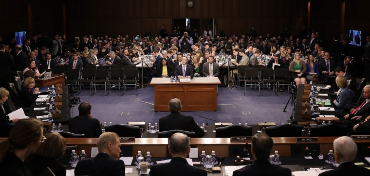 Image: Facebook CEO Zuckerberg testifies before a U.S. Senate joint hearing on Capitol Hill in Washington