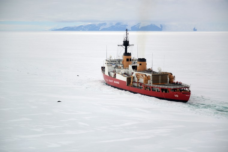 USCGC Polar Star icebreaking operations off of Antarctica