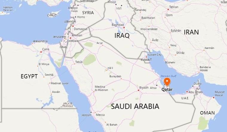 Image: Map showing Qatar