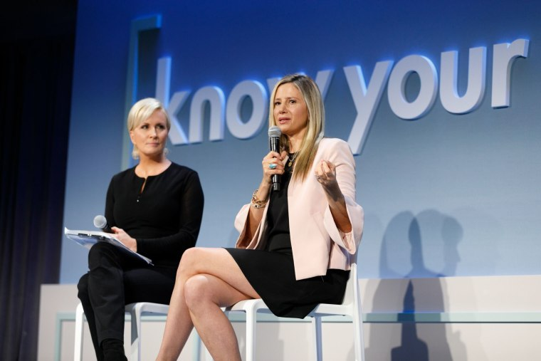 "Actress Mira Sorvino speaks to ""Morning Joe"" co-host Mika Brzezinski at the Know Your Value conference on Dec. 1 in San Francisco."