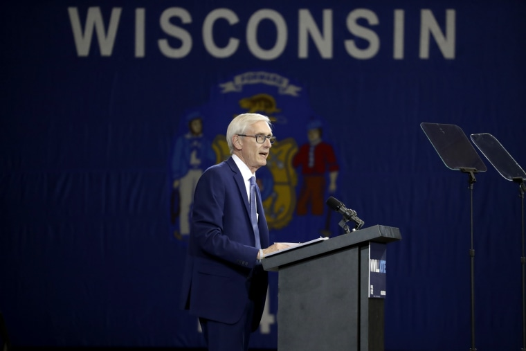 Democratic candidate for governor Tony Evers speaks at a rally in Milwaukee on Oct. 26, 2018.