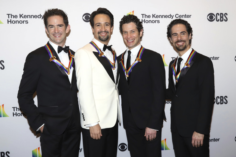 From left, Andy Blankenbuehler, Lin-Manuel Miranda, Thomas Kail and Alex Lacamoire attend the 41st Annual Kennedy Center Honors at The Kennedy Center in Washington on Dec. 2, 2018.