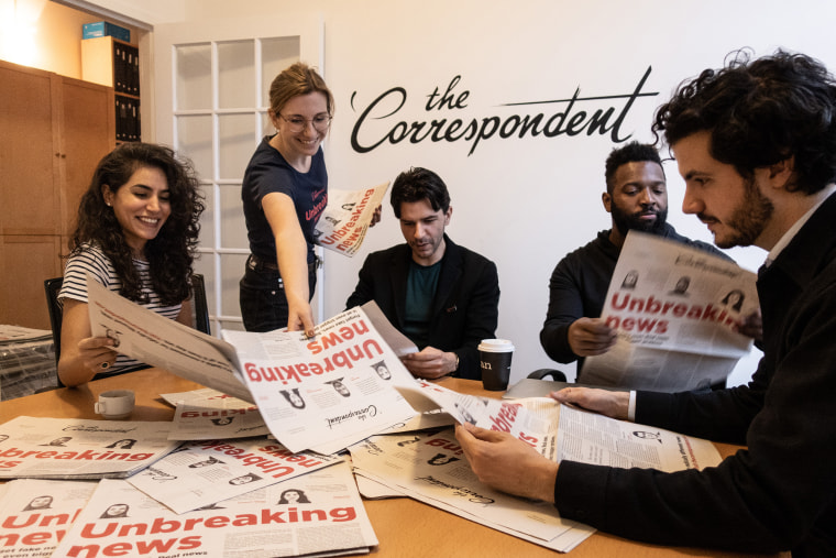 The Correspondent team, from left, Zainab Shah, Jessica Best, Rob Wijnberg, Baratunde Thurston, and Ernst Pfauth.