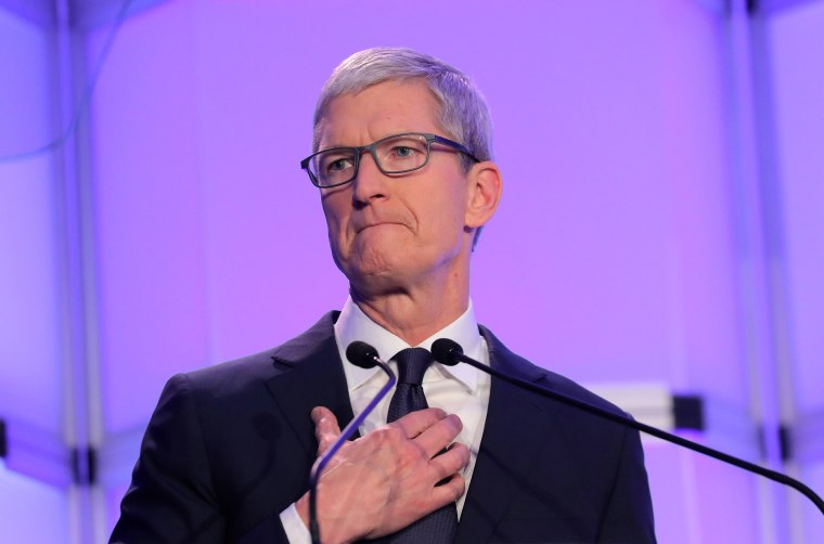 "Image: Apple CEO Tim Cook speaks at Anti-Defamation League's ""Never is Now"" summit in New York"