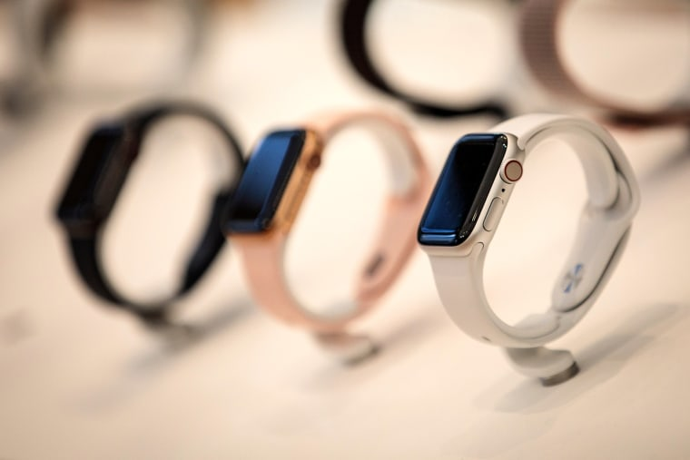 Apple Watches on display in London on Sept. 21, 2018.