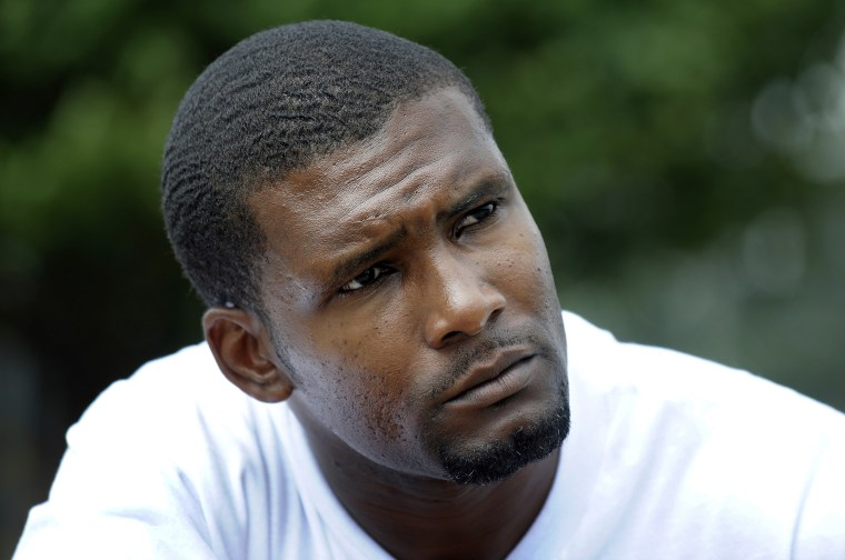 Daniel Green, who is serving a life sentence for the July 1993 death of former NBA basketball star Michael Jordan's father James Jordan, listens to questions during an interview at the Harnett County Correctional Institute in Lillington, North Carolina, on Aug. 20, 2010.