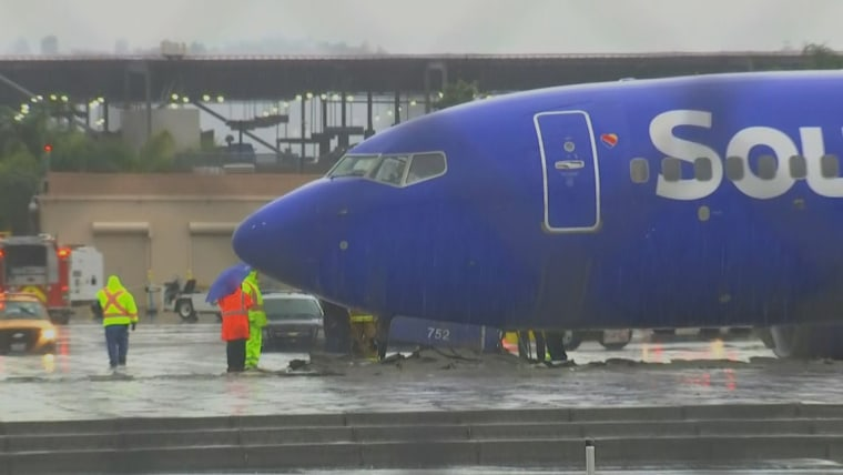 Image: A Southwest Airlines flight slid off the runway at Bob Hope Airport in Burbank, California, on Dec. 6, 2018.