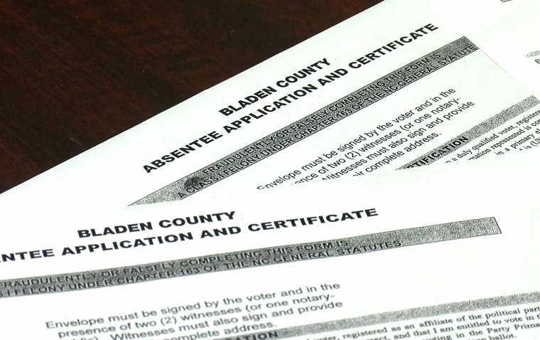 A Bladen County absentee ballot application and certificate.