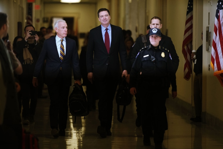 Image: Former FBI Director James Comey arrives to testify before the House Judiciary and Oversight and Government Reform committees on Capitol Hill on Dec. 07, 2018.