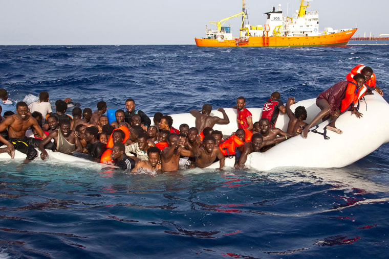 Image: Migrants await rescue by the Aquarius in 2016