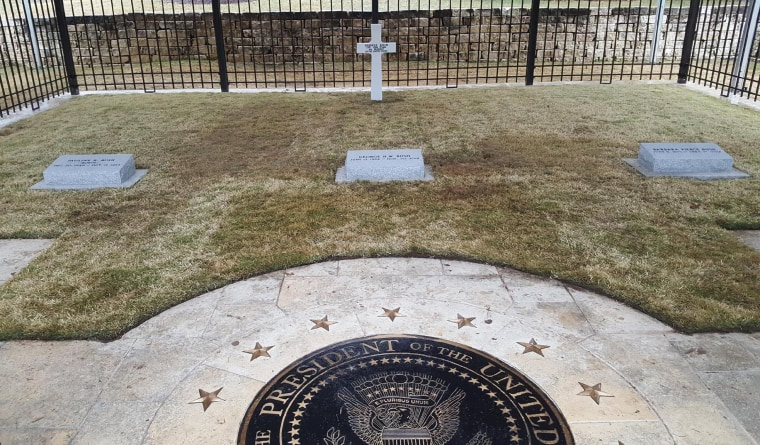 Former President George H.W. Bush's headstone, located on the grounds of his presidential library in College Station, Texas.
