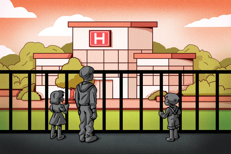Illustration of children outside of a hospital they can't access