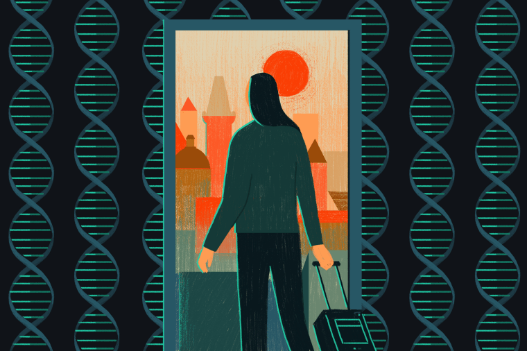 Illustration of a woman traveling through a DNA-papered wall/door into a city scene