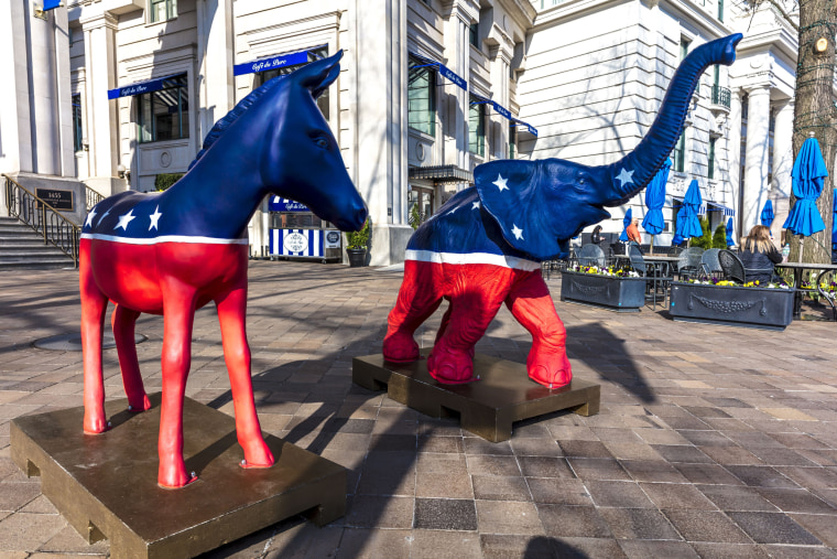 WASHINGTON DC, Democratic Mule and Republican Elephant statues symbolize American